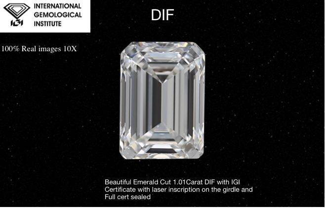 1 pcs Diamond - 1.01 ct - Emerald, EX-EX NONE - D (colourless) - IF (flawless)