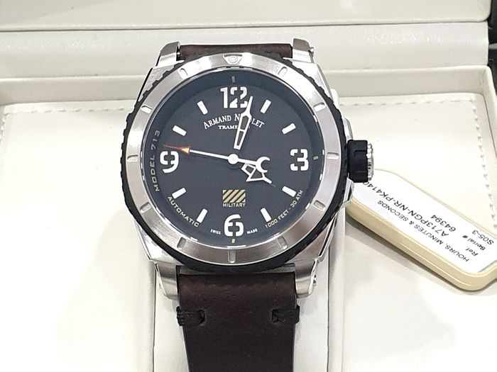 Armand Nicolet - S05-3 Military - Black Dial Brown Genuine Leather Vintage Strap - A713PGN-NR-PK4140TM - Automatic Swiss Made - Sub 30 ATM - Homem - New 2019