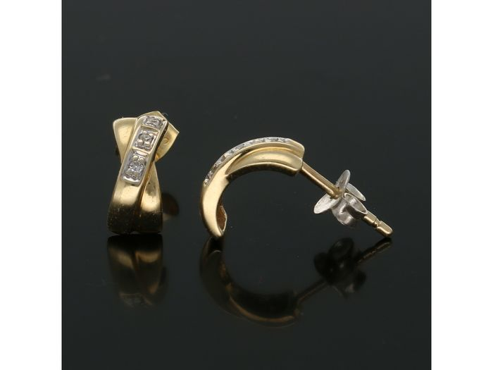 14 kt. Yellow gold - Earrings - 0.03 ct Diamond