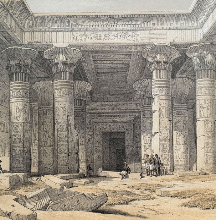 5 prints by David Roberts (1796 – 1864) - Lybian Chain of mountains, the Temple of Luxor, The Obelisk of Luxor & other