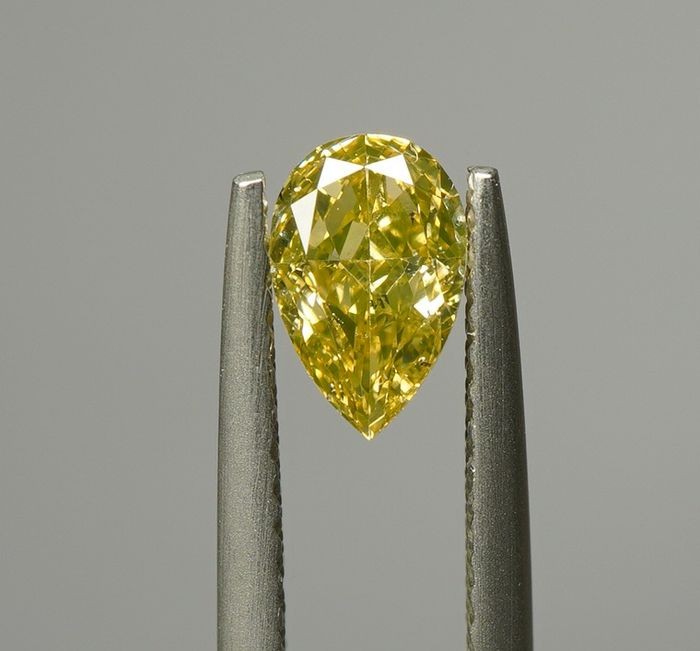 1 pcs Diamond - 0.54 ct - PEAR BRILLIANT  - fancy brownish yellow - SI1 - No Reserve