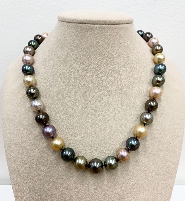 18 kt. Freshwater pearls, Multicolor south sea pearls, South sea pearls, Tahitian pearls, White gold, Ø 10 x 12,5 MM - exceptional natural colours - Necklace