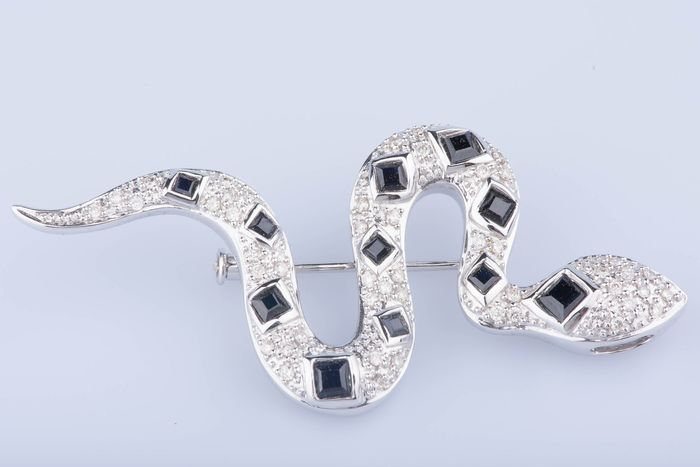 18 kt. White gold - Brooch - 0.49 ct Diamond - Sapphire