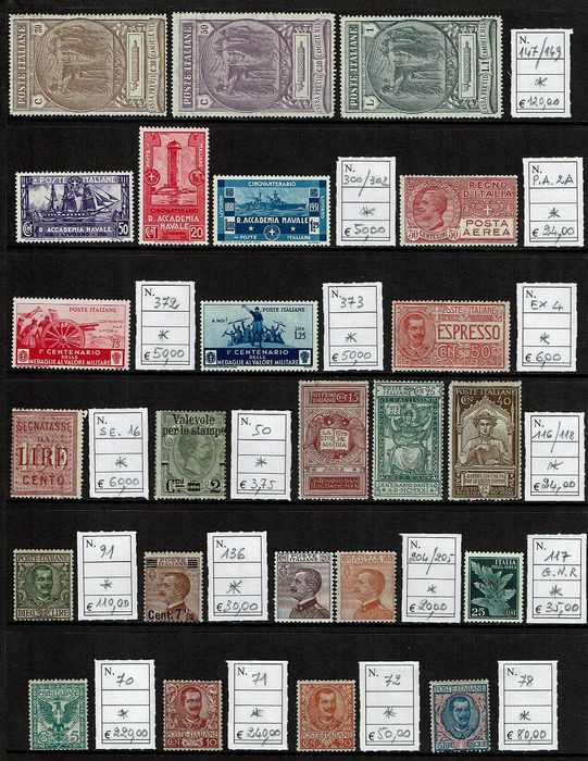 Italia 1900/1940 - Stamps of the Kingdom, lot of fragments - Sassone