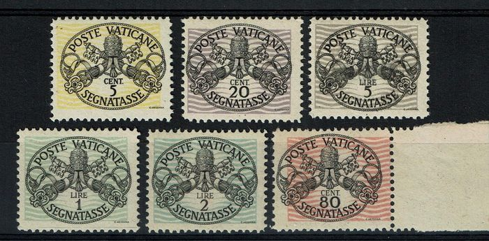 Vatican City 1946 - Postage due with wide lines and white paper - Sassone TX 13/18
