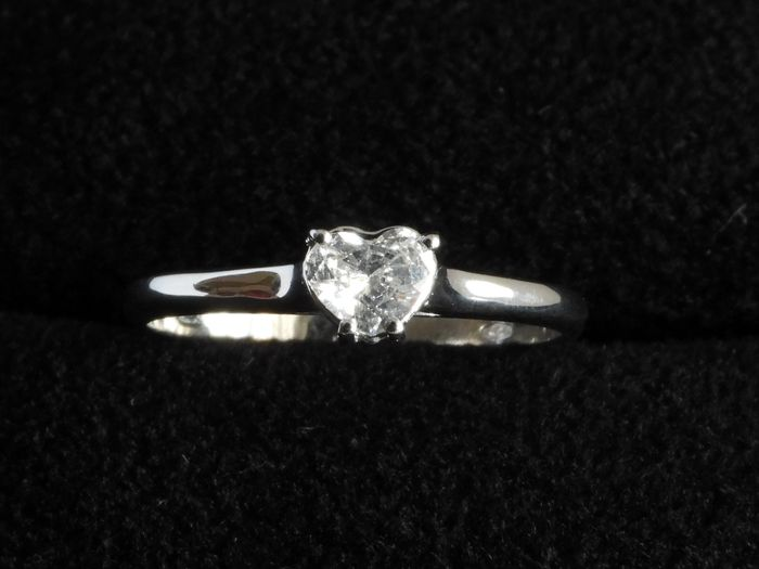 Giannotti  - 18 kt. White gold - Ring, Lonely Diamond Heart Diamond