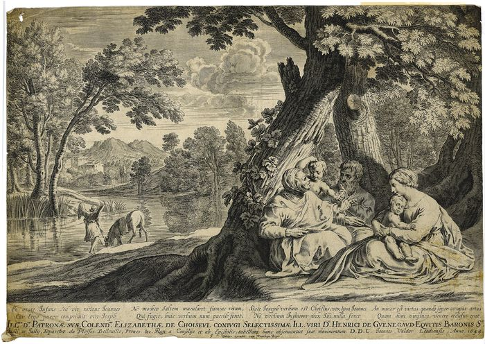 Joannes Valdor (1616-1675) (by and/or publisher); after Herman van Swanevelt (c.1603-1655) - Rest on the flight to Egypt