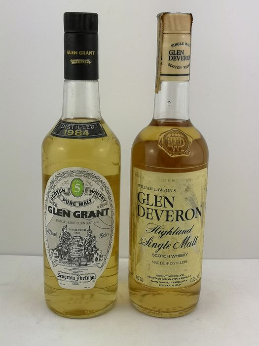 Glen Grant 1984 5 years old & Glen Deveron Highland Malt - b. Década de 1980 - 75 cl - 2 botellas