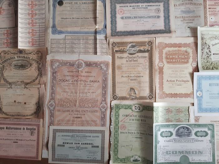 16 original historic maritime shares and bonds (Compañia Transatlàntica, 1913)  (16) - Paper - 1906-1972