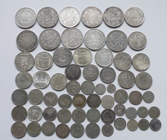 World - Lot various cons 19th and 20th century (63 pieces)  - Silver