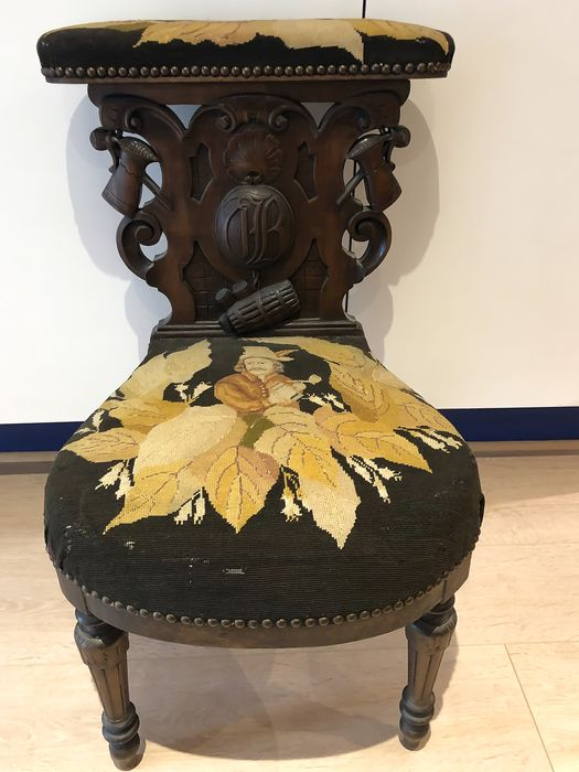 Smoking chair - Napoleon III - Wood, Wool - Late 19th century