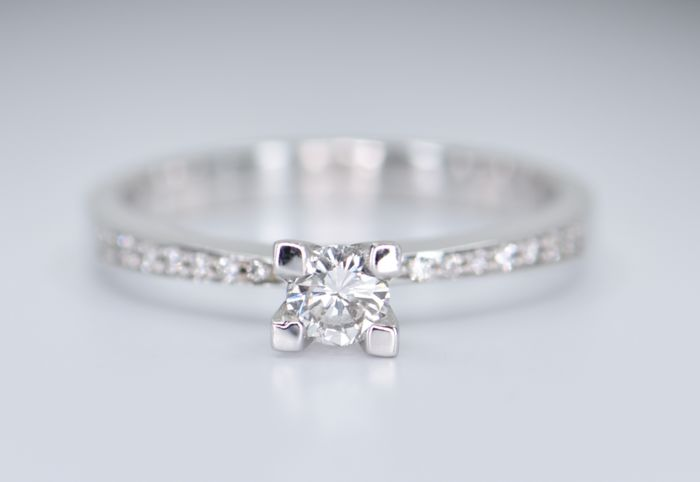 14 kt. White gold - Ring - 0.34 ct Diamond - Diamond