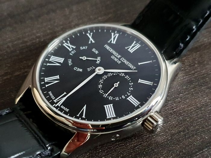 Frédérique Constant - luxury men day and date display unworn with Black leather strap - Men - 2019