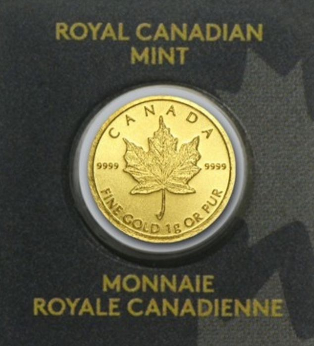 Canada - 50 Cents 2020, ROYAL CANADIAN MINT, Maplegram, Sealed and Numbered - 1 gr - Gold