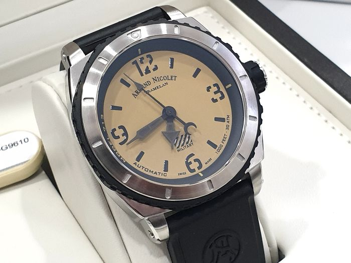 Armand Nicolet - S05-3 Military - Beige Dial & Black Rubber Strap - A713PGN-KN-G9610  Automatic Swiss Made - Sub 30 ATM - Men - New 2019