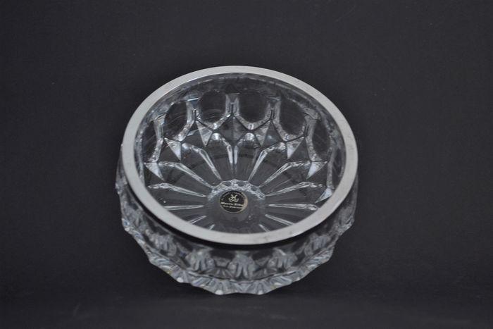 Emil Hermann - cut crystal bowl with silver rim (1) - Silver