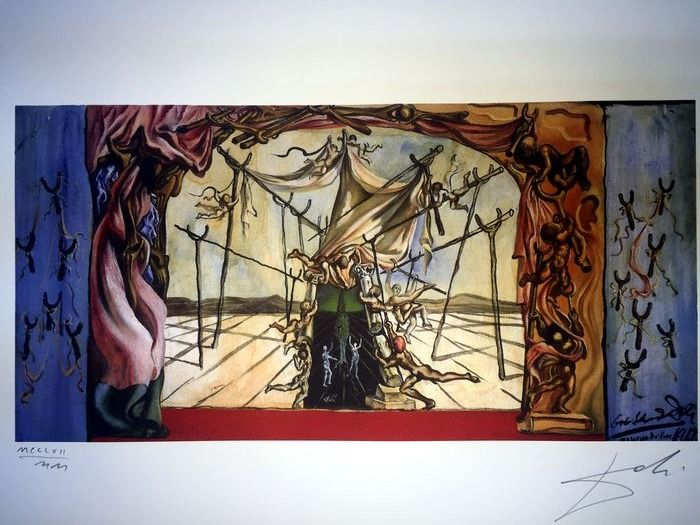 Salvador Dalí (After) - Design for the set of Romeo and Juliet-Backdrops and wing flats