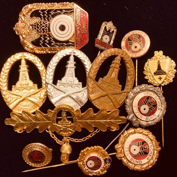 Germany - 12 pcs. Shooting (Schütze) Medals, Badges and Stick-Pins - Great collectable items