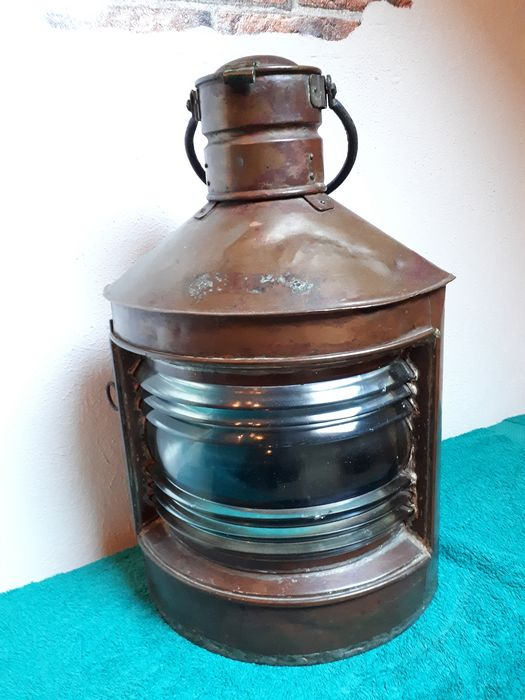 Ship's lamp, Very large complete - Copper - mid 20th century
