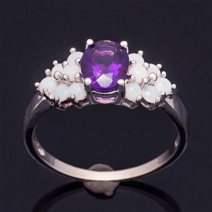 14 kt. White gold - Ring - 1.00 ct Amethyst - Opals