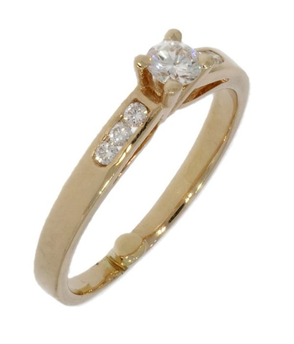 Solitair - 14 kt. Yellow gold - Ring - 0.21 ct Diamond