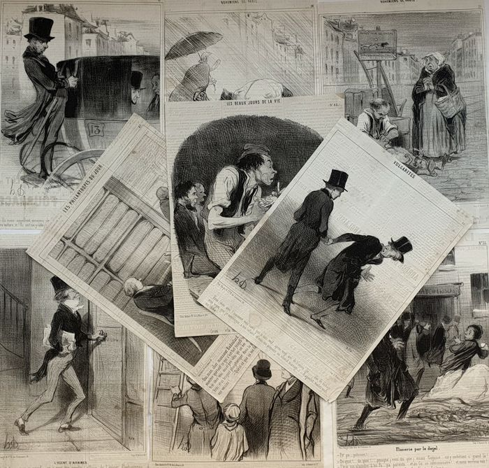 9 prints by Honoré Daumier (1808-1879) - From various series mostly from Le Charivari
