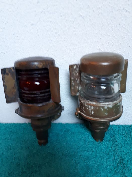French marine ship lights (2) - Copper - First half 20th century