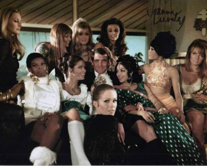 James Bond 007 - Bondgirls - 3 signed photos - Joanna Lumley (OHMSS) Madeline Smith (Live and Let Die) Caroline Munro (Spy who Loved Me)