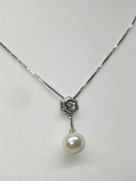 Damiani - 18 kt. White gold - Necklace with pendant - 0.12 ct Diamond - Pearl