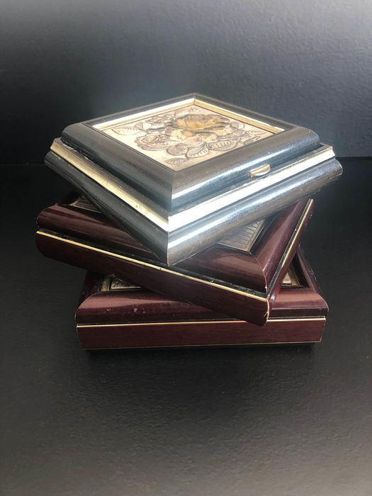 3 Signed Jewelery Box in Wood and Silver 925 - .925 silver
