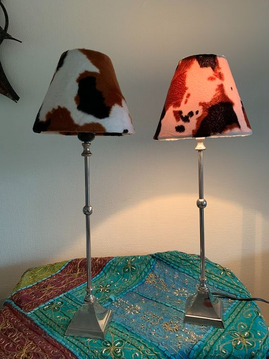 Licht Makers - two table lamps - nickel and printed cap