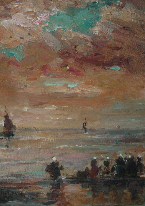Johannes Ruighaver (1909-2008) - Arrival of the fishing boats