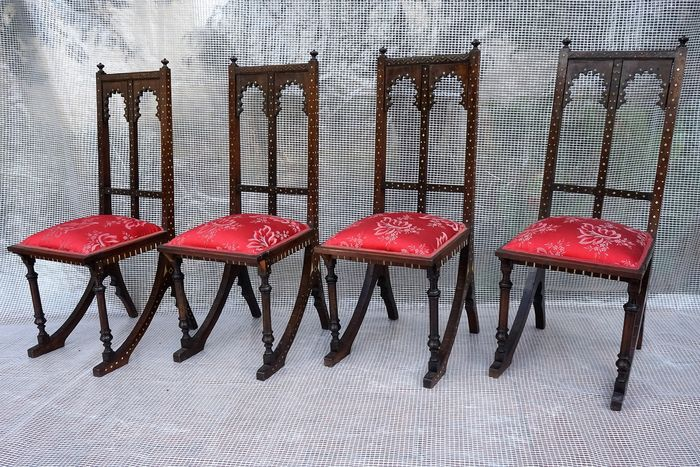 Set of four Ottoman or Syrian chairs (4) - Bone, Textiles, Wood - Late 19th century