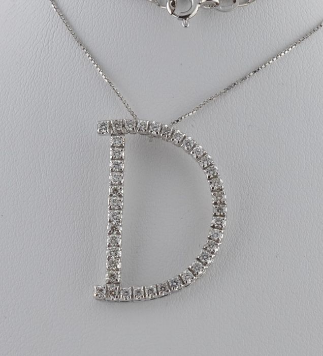 18 kt. White gold - Necklace with pendant