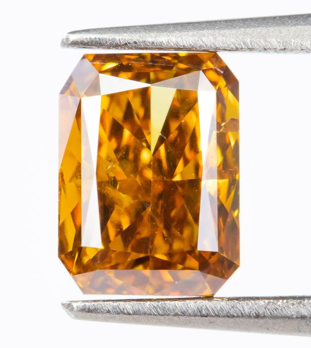 Diamant - 0.47 ct - Natürliche Phantasie VIVID Gelb-Orange - SI1  *NO RESERVE*