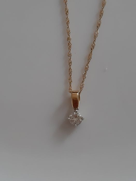 18 kt. Yellow gold - Necklace with pendant - 0.25 ct Diamond