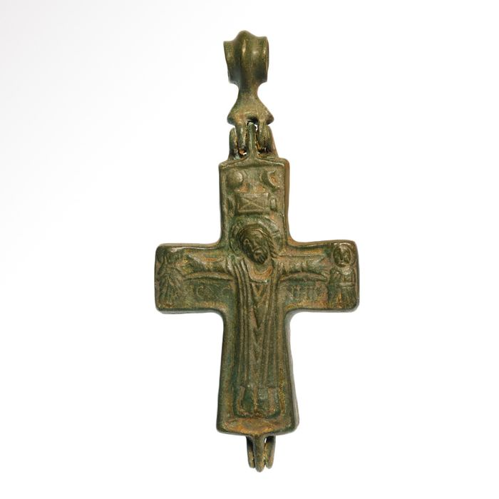 Byzantine Bronze  Reliquary Cross Pendant with Christ and Saints
