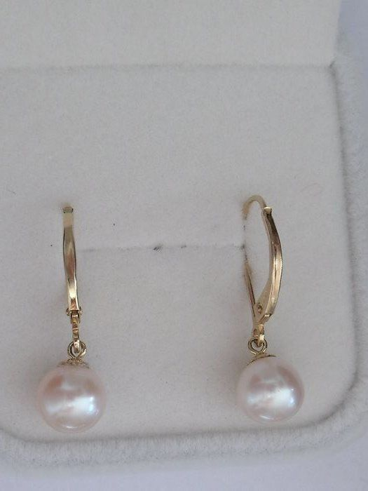 14 kt. Akoya pearls, Yellow gold, 7.4 mm - Earrings