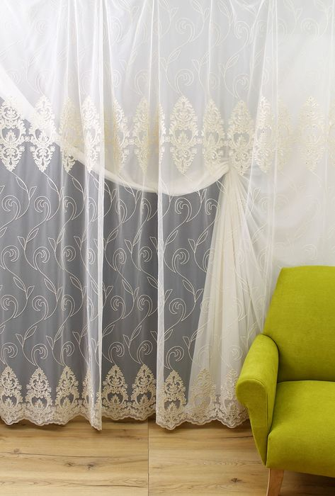 French style rebrodé curtain fabric with gold color embroidery height 3.10m width 4.00m - textile - Recently made