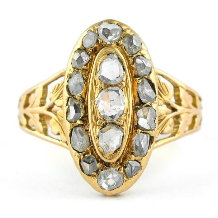 Authentic Early-Mid 19th Century - 18 carats Or jaune - Bague Diamant