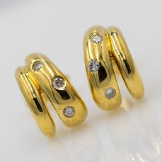 18 kt. Yellow gold - Earrings - 0.09 ct Diamond