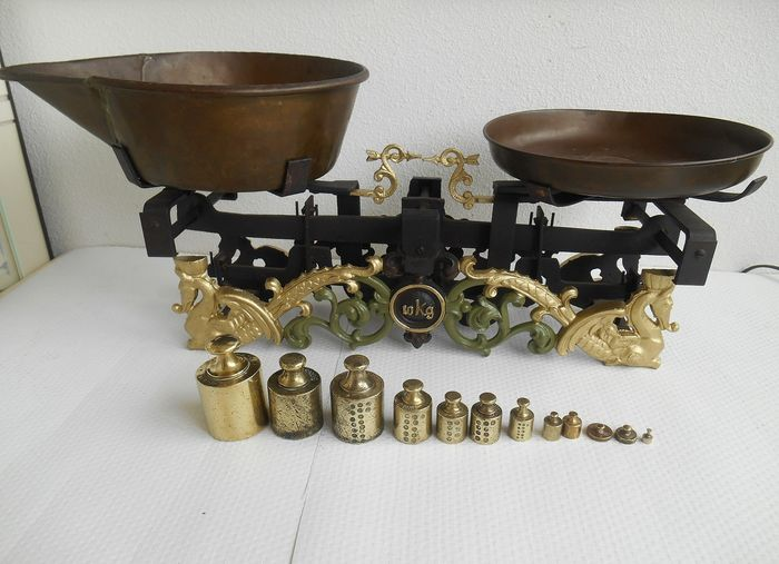 Dutch Grocery Scale with set of weights - ca.1930 - Gietijzer  - Early 20th century