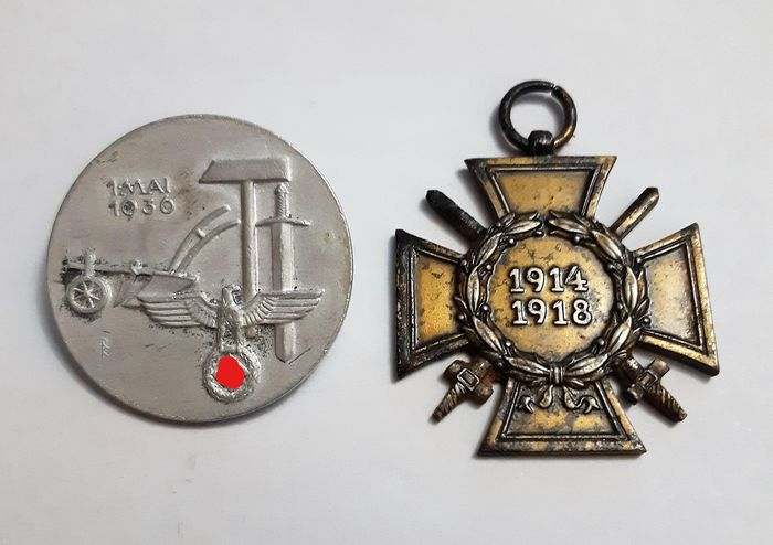 Germany - Army/Infantry - Badge,  WW2-  3 Reich . German badge 1MAI 1936 and German medal Honour cross for the world war - - 1936