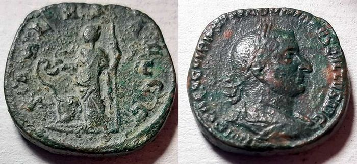 Empire romain - Sesterzio (AE), Treboniano Gallo (251-253 d.C.) - SALVS AVGG - Bronze