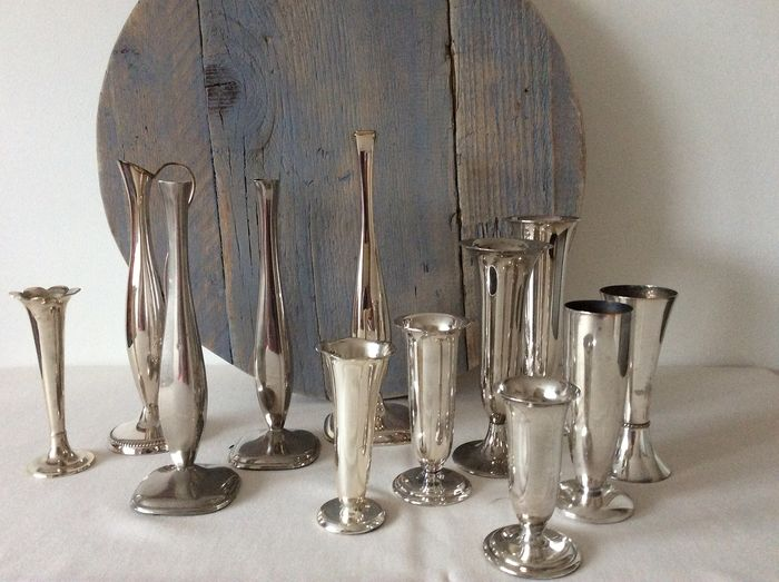 silver plated vases (12) - plated metal