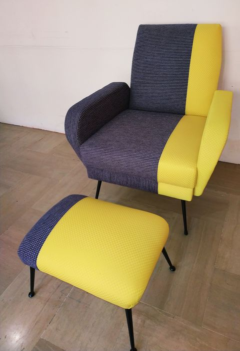 Vintage armchair with hocker - beautiful new upholstery