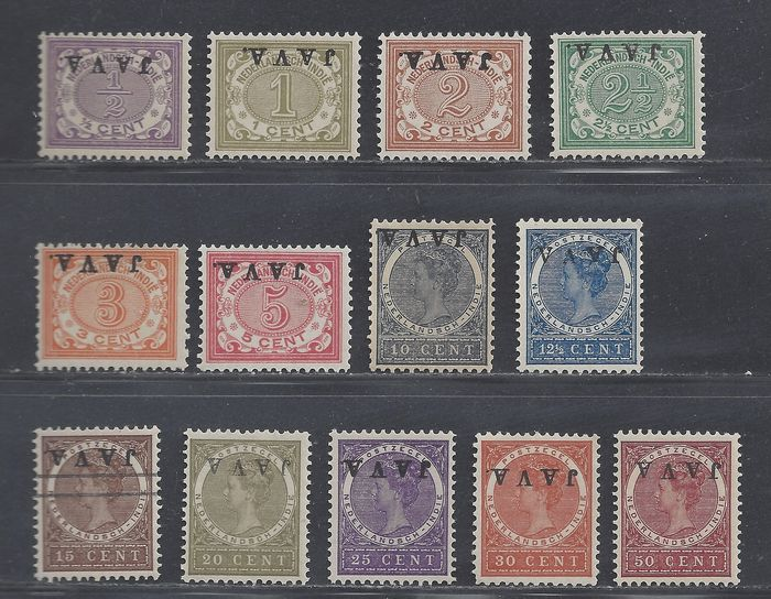 Dutch East Indies 1908 - 'JAVA' overprint inverted - NVPH 63f/78f