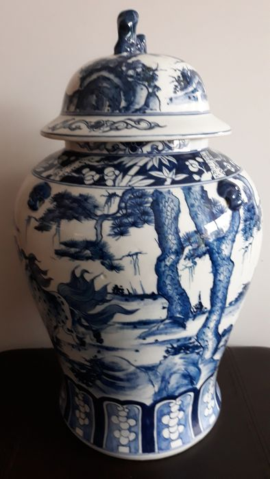 Jarrón - Porcelana - Blue and white 46 cm - China - Finales del siglo XX