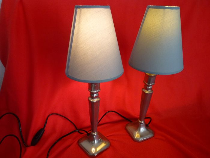 Vintage Table Lamps (2) - Various materials including iron chrome