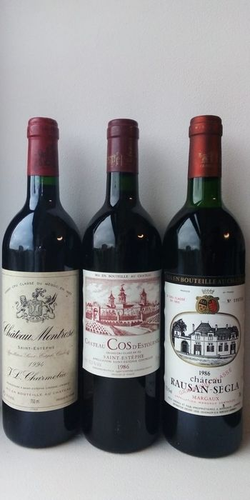 Mixed lot - 1986 Chateau Rauzan Segla, 1986 Chateau Cos d'Estournel and 1994 Chateau Montrose - Margaux, Saint-Estèphe 2éme Grand Cru Classé - 3 Bottles (0.75L)